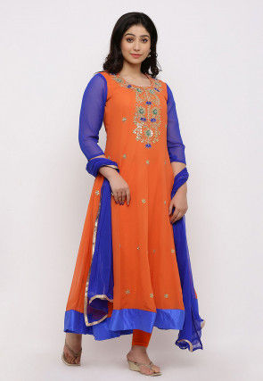 Gota Patti Georgette Anarkali Suit in Orange
