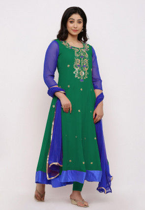 Gota Patti Georgette Anarkali Suit in Teal Green and Royal Blue