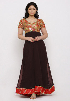 Gota Patti Georgette Gown in Dark Brown and Red