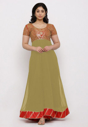 Gota Patti Georgette Gown in Light Beige and Red