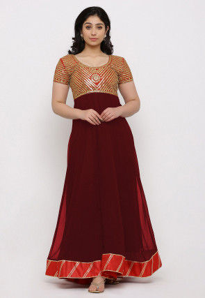 Gota Patti Georgette Gown in Maroon and Red