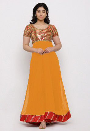 Gota Patti Georgette Gown in Orange and Red