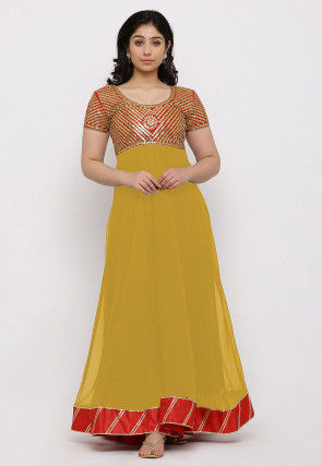 Gota Patti Georgette Gown in Yellow and Red