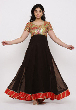 Gota Patti Georgette Gown Set in Dark Brown and Red