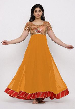 Gota Patti Georgette Gown Set in Orange and Red