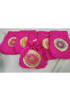 Gota Patti Georgette Potli Bag in Fuchsia