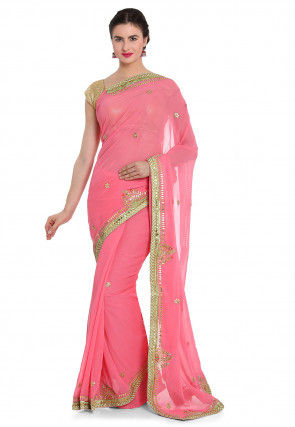 Gota Patti Georgette Pre-stitched Saree in Baby Pink
