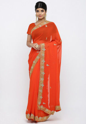 Gota Patti Georgette Saree in Dark Orange