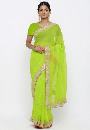 Gota Patti Georgette Saree in Light Green