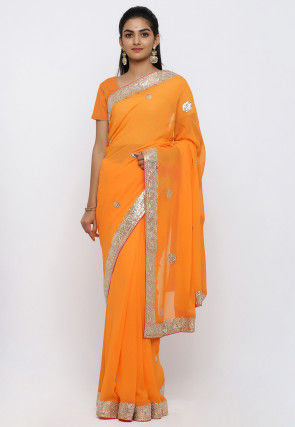 Gota Patti Georgette Saree in Orange
