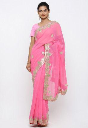Gota Patti Georgette Saree in Pink