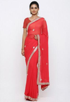 Gota Patti Georgette Saree in Red