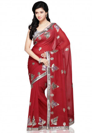 Gota Patti Georgette Saree in Red