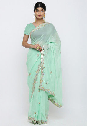 Gota Patti Georgette Saree in Sea Green