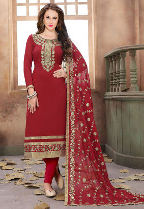 Gota Patti Georgette Straight Suit in Maroon