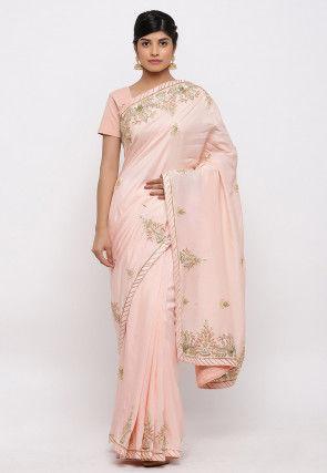 Gota Patti Hand Embroidered Art Silk Saree in Light Peach