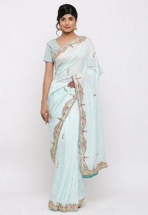 Gota Patti Hand Embroidered Art Silk Saree in Light Sky Blue