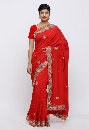 Gota Patti Hand Embroidered Art Silk Saree in Red