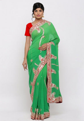 Gota Patti Hand Embroidered Georgette Saree in Green