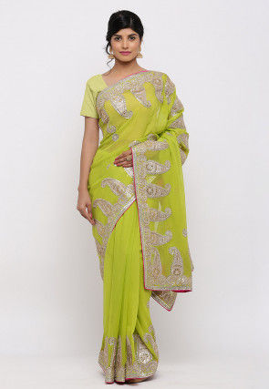 Gota Patti Hand Embroidered Georgette Saree in Light Green