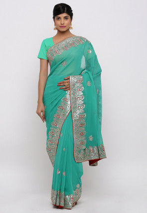 Gota Patti Hand Embroidered Georgette Saree in Light Turquoise