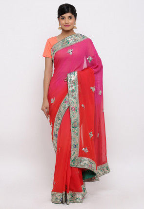 Gota Patti Hand Embroidered Georgette Saree in Red and Pink