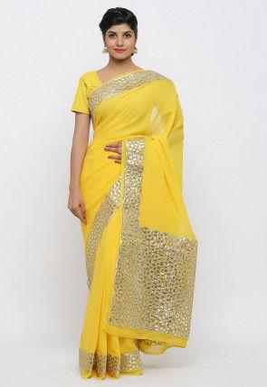 Gota Patti Hand Embroidered Georgette Saree in Yellow