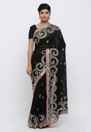 Gota Patti Hand Embroidered Pure Georgette Saree in Black