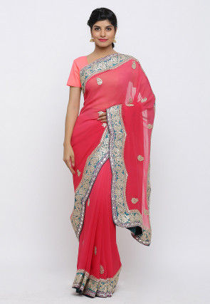 Gota Patti Hand Embroidered Pure Georgette Saree in Coral Pink