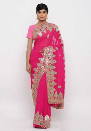 Gota Patti Hand Embroidered Pure Georgette Saree in Fuschia