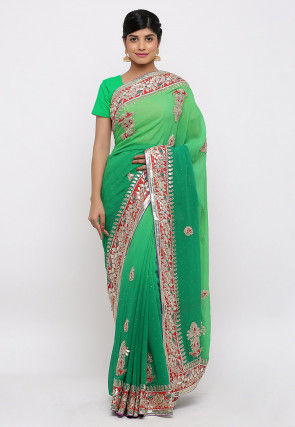 Gota Patti Hand Embroidered Pure Georgette Saree in Green Ombre