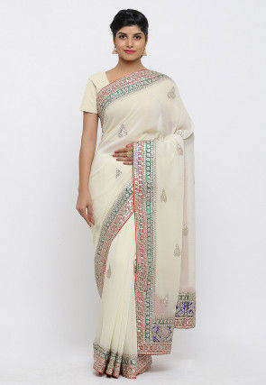 Gota Patti Hand Embroidered Pure Georgette Saree in Off White