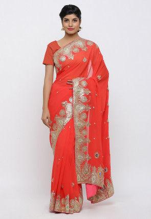 Gota Patti Hand Embroidered Pure Georgette Saree in Red