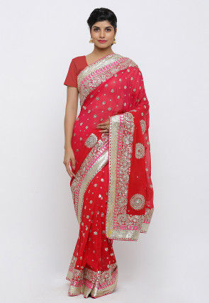 Gota Patti Hand Embroidered Pure Georgette Saree in Red