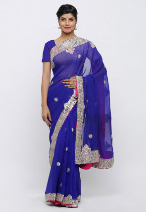 Gota Patti Hand Embroidered Pure Georgette Saree in Royal Blue