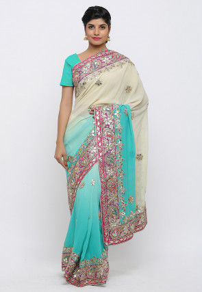 Gota Patti Hand Embroidered Pure Georgette Saree in Shaded Blue
