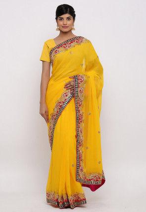 Gota Patti Hand Embroidered Pure Georgette Saree in Yellow