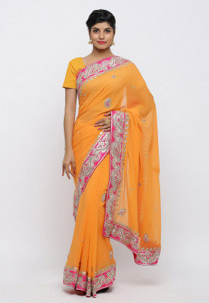 Gota Patti Pure Georgette Saree in Mustard