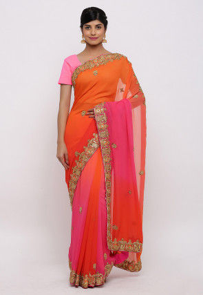 Gota Patti Pure Georgette Saree in Orange and Pink
