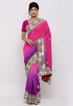 Gota Patti Pure Georgette Saree in Pink and Purple