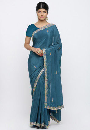 Gota Patti Satin Chiffon Saree in Teal Blue