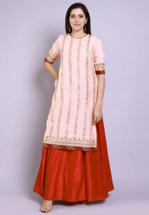 Gota Patti Uppada Silk Straight Kurta Set in Peach