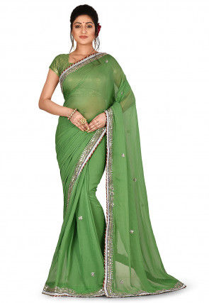 Gota Patti Viscose Georgette Saree in Dusty Green