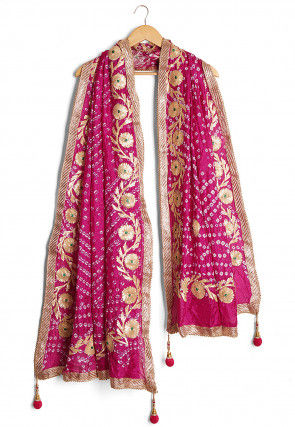 Gota Work Art Silk Dupatta in Magenta