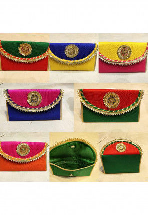 Gota Work Art Silk Envelope Clutch Bag in Multicolor