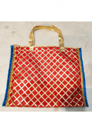 Gota Work Art Silk Hand Bag in Red