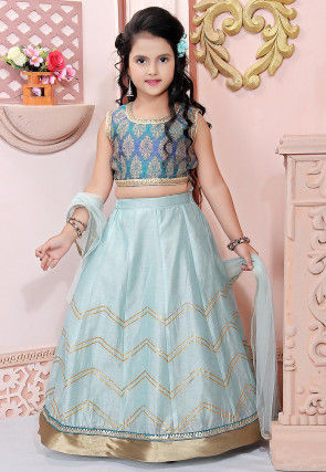 Gota Work Chanderi Silk Lehenga in Sky Blue