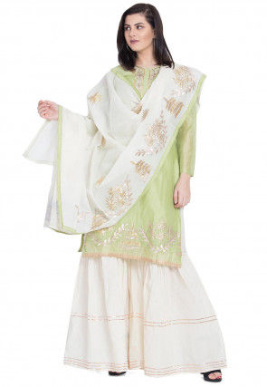 Gota Work Chanderi Silk Pakistani Suit in Pastel Green