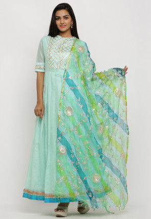 Gota Work Chanderi Silk Pleated Abaya Style Suit in Green