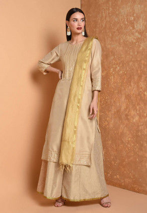 Gota Work Cotton Chanderi Pakistani Suit in Beige
